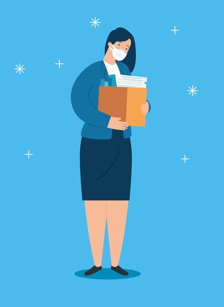 traurige, arbeitslose Geschäftsfrau vektor