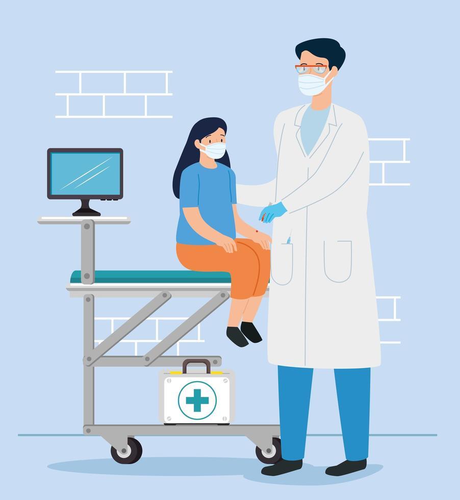 läkare som vaccinerar en tjej i konsultrummet vektor