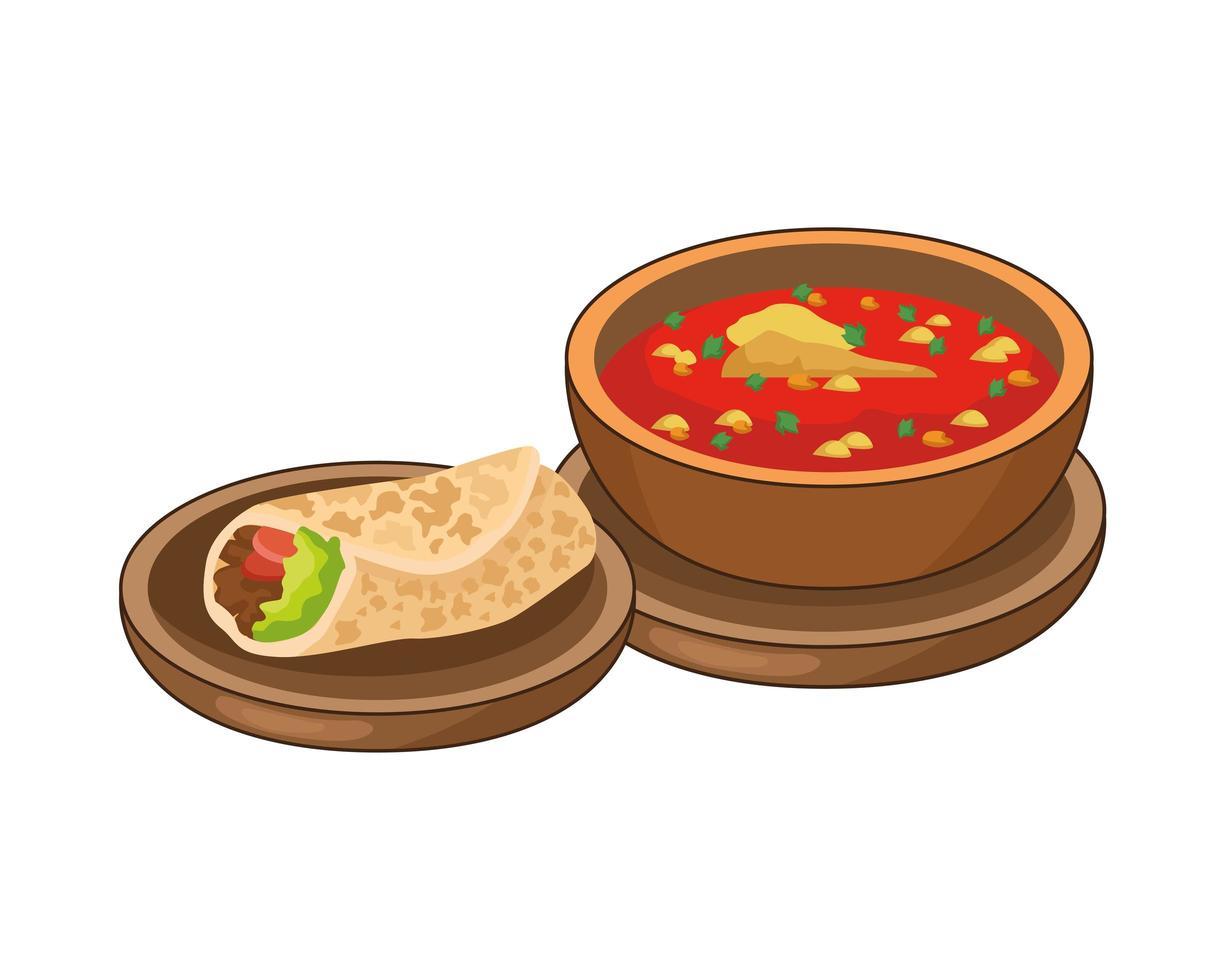 burrito och mexikansk mat vektor