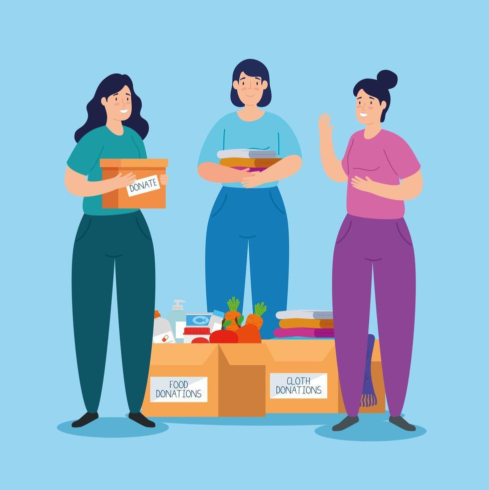 Frauen mit Box für wohltätige Zwecke und Spenden vektor