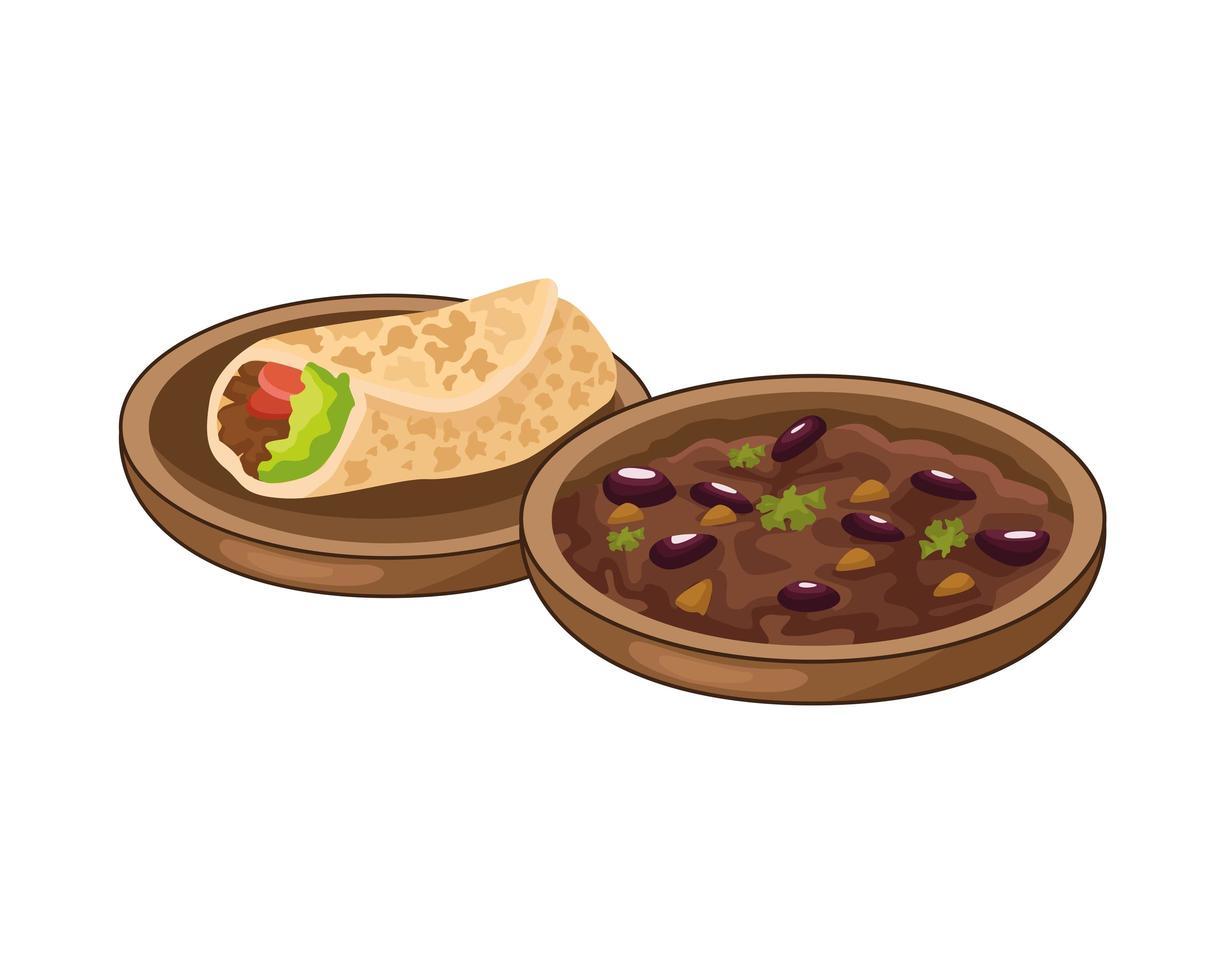 mexikanisches Essen mit Burrito und gekühlten Bohnen vektor