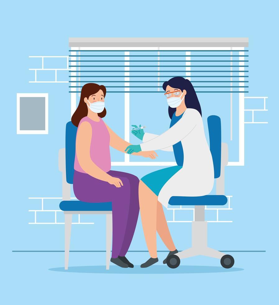 läkare som vaccinerar en kvinna i konsultrummet vektor