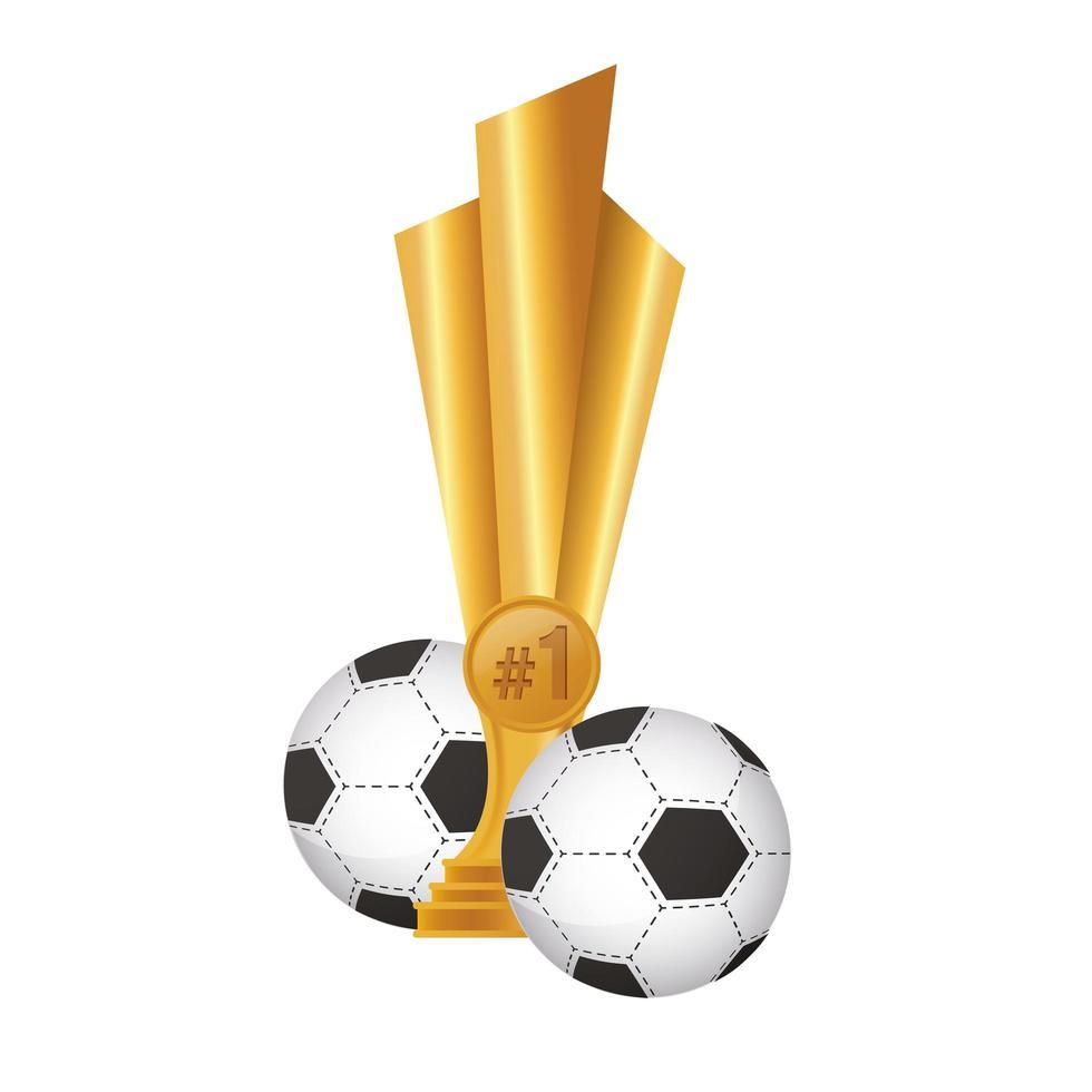 fotbollar med trofépris vektor