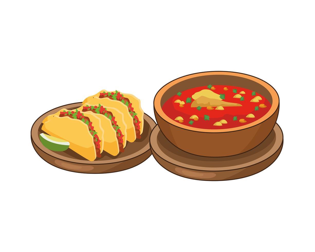 tacos och utsökt mexikansk mat vektor