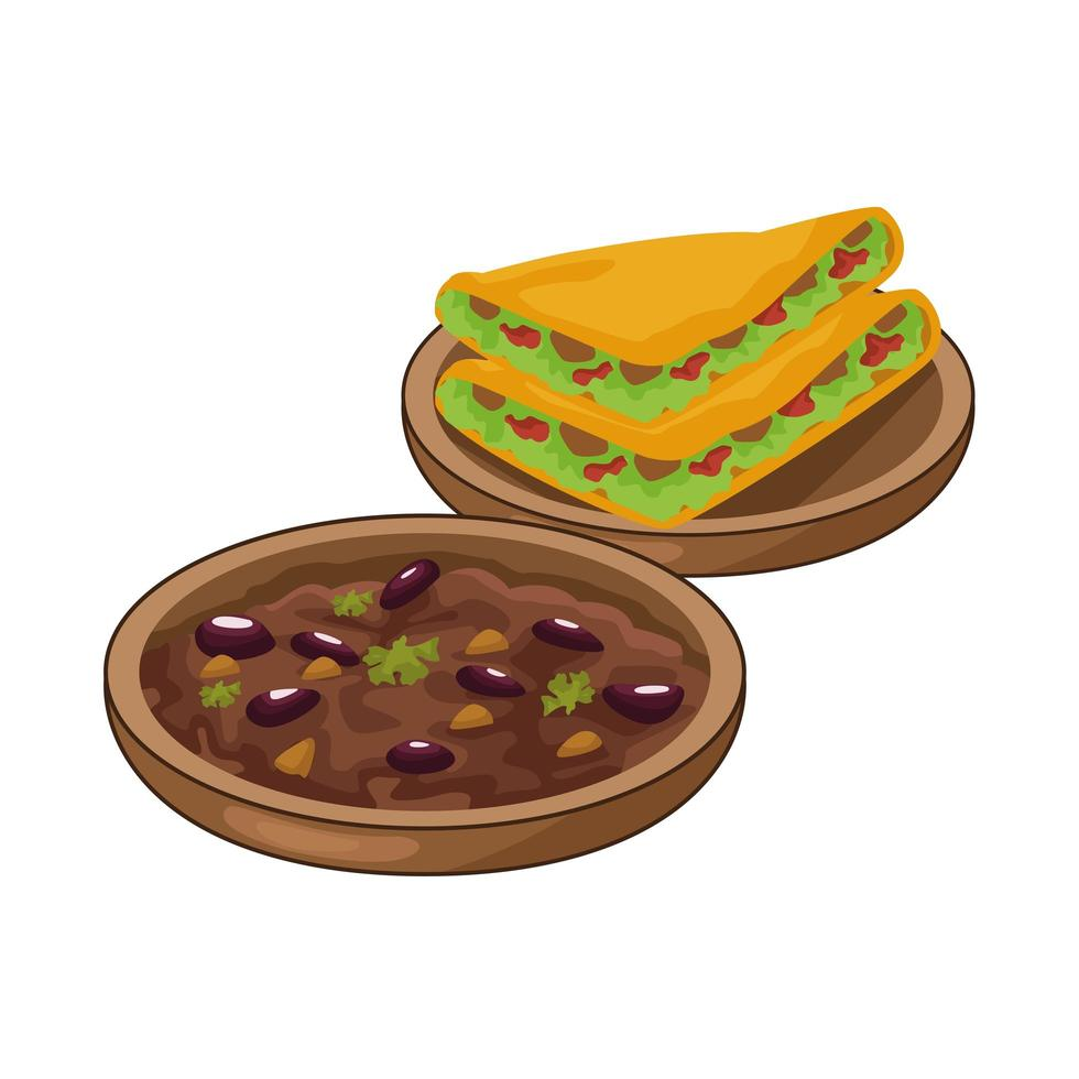 Quesadillas und gekühlte Bohnen leckeres mexikanisches Essen vektor