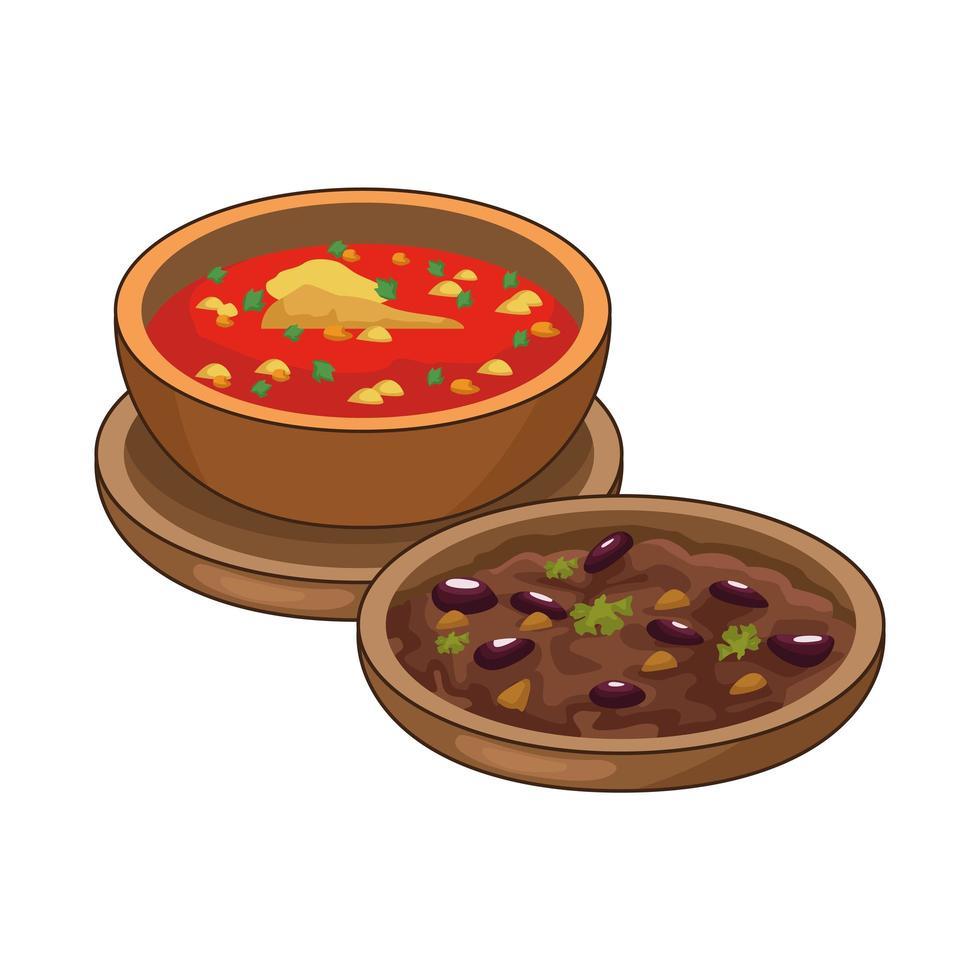 gekühlte Bohnen und leckeres mexikanisches Essen vektor