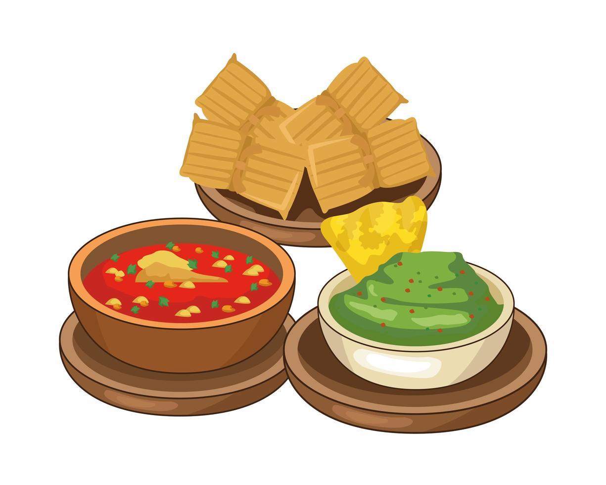 nachos med guacamole mexikansk mat vektor
