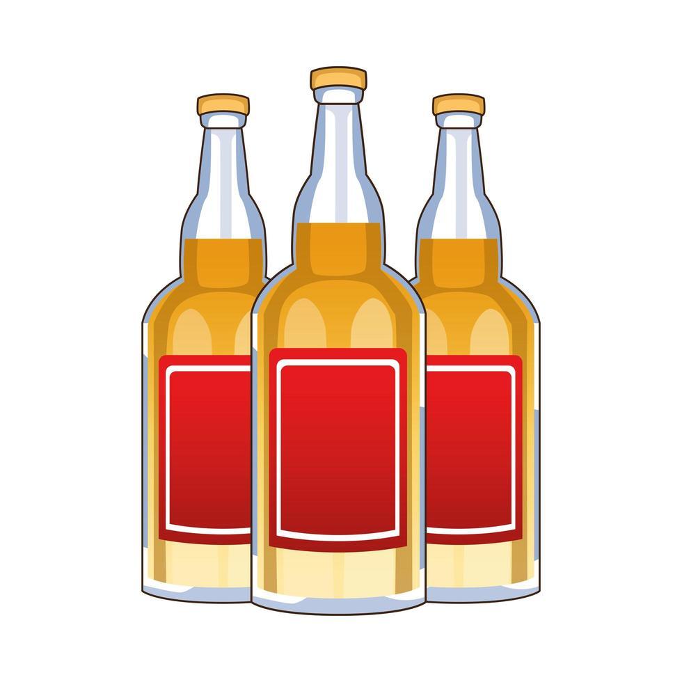 tequila flaskor mexikansk dryck isolerad ikon vektor