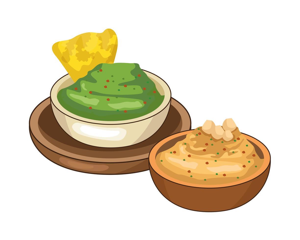 Nachos mit mexikanischem Guacamole-Essen vektor