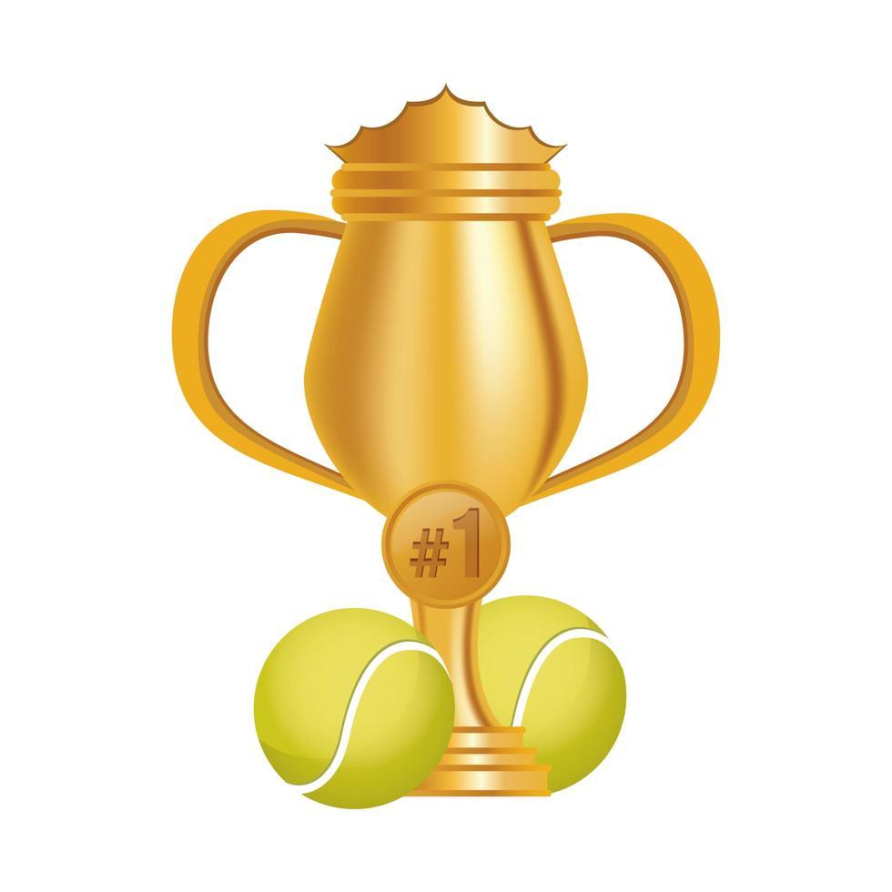 Tennisbälle mit Trophäenbecher vektor