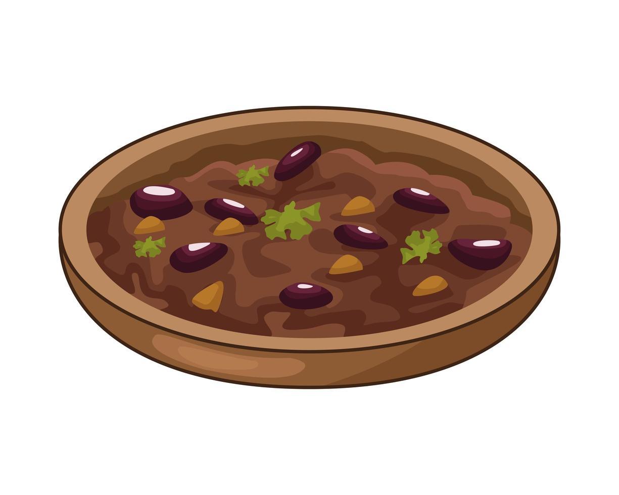 köstliche mexikanische gekühlte Bohnen traditionelles Essen vektor