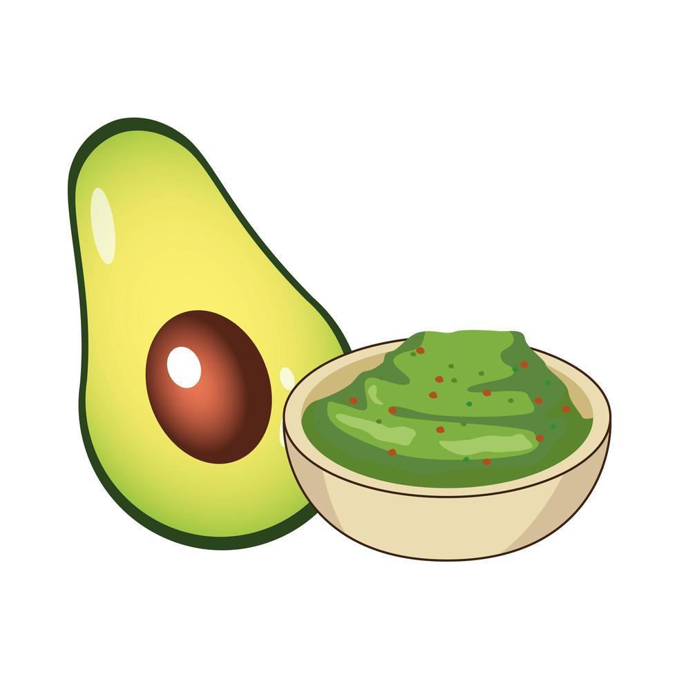 frisches Avocado-Gemüse und Guacamole-Sauce vektor