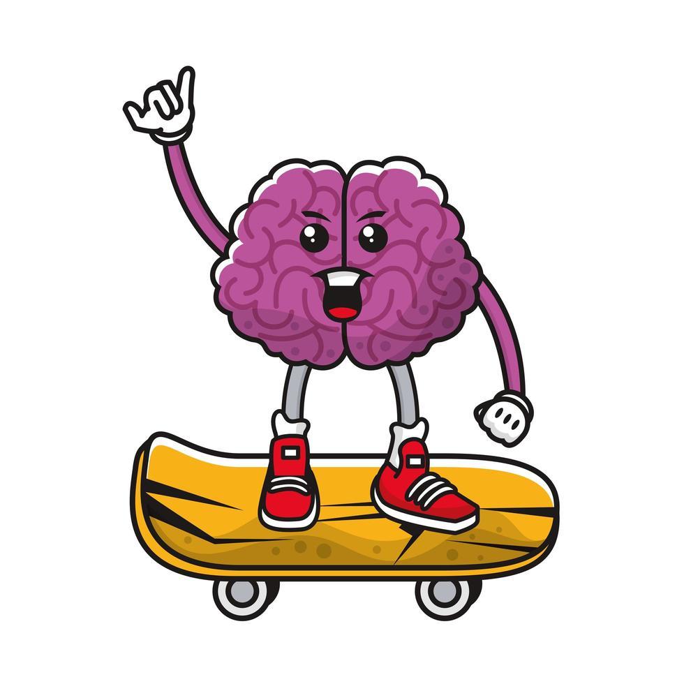 hjärna på komiska karaktär skateboard vektor