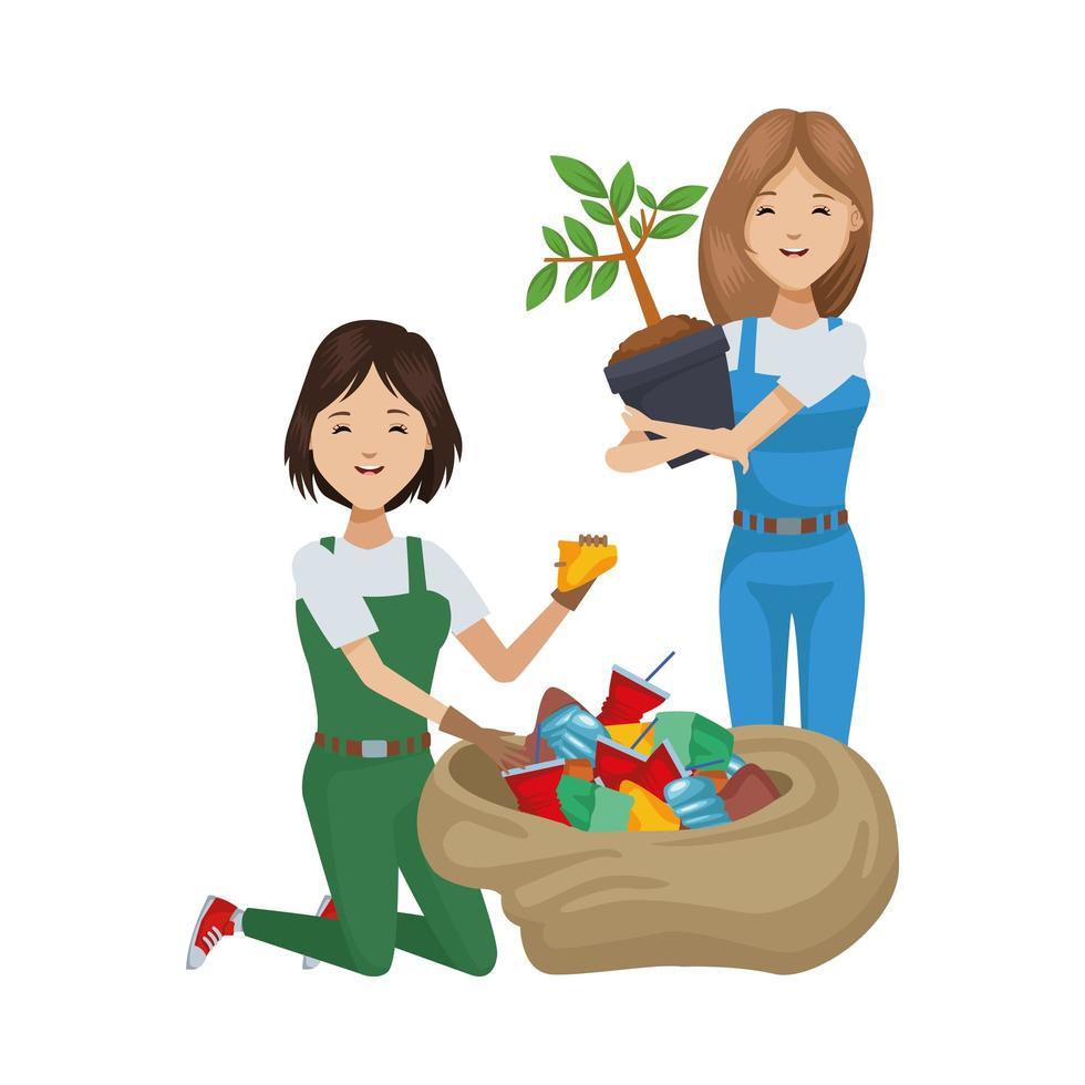 återvinning och plantering av miljövänliga kvinnor vektor