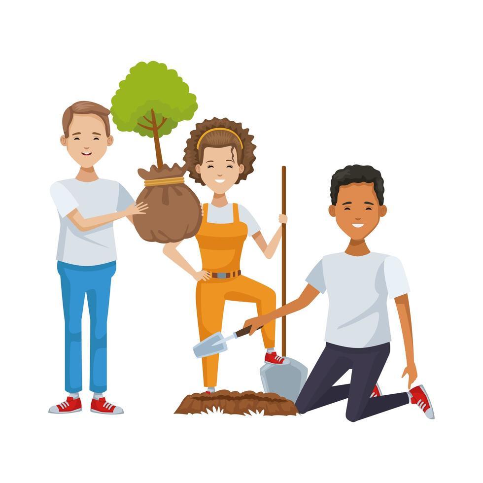 miljöaktivister som planterar träd vektor