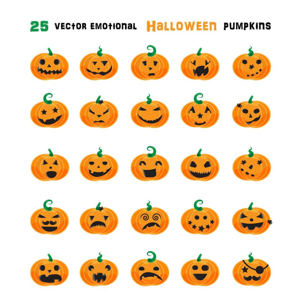 Halloween emotionale Kürbisse gesetzt vektor