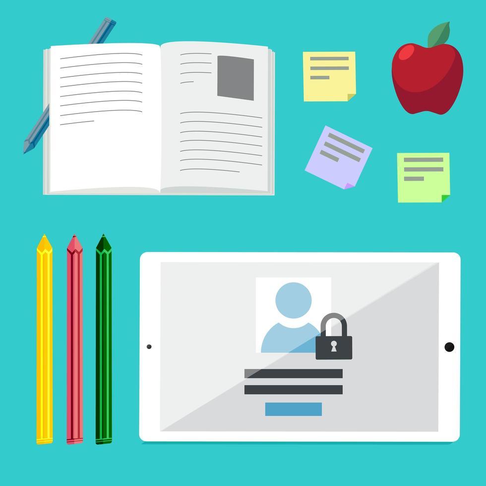 platta illustrationskoncept för utbildning, onlinehandledning vektor