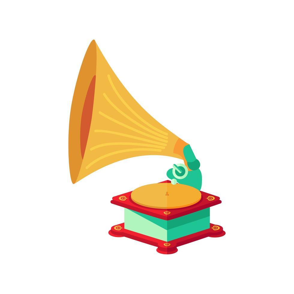Vektor hell flach altes Grammophon