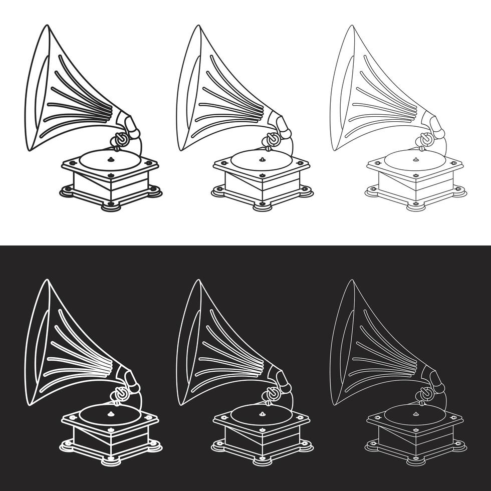 vektor gammal grammofon