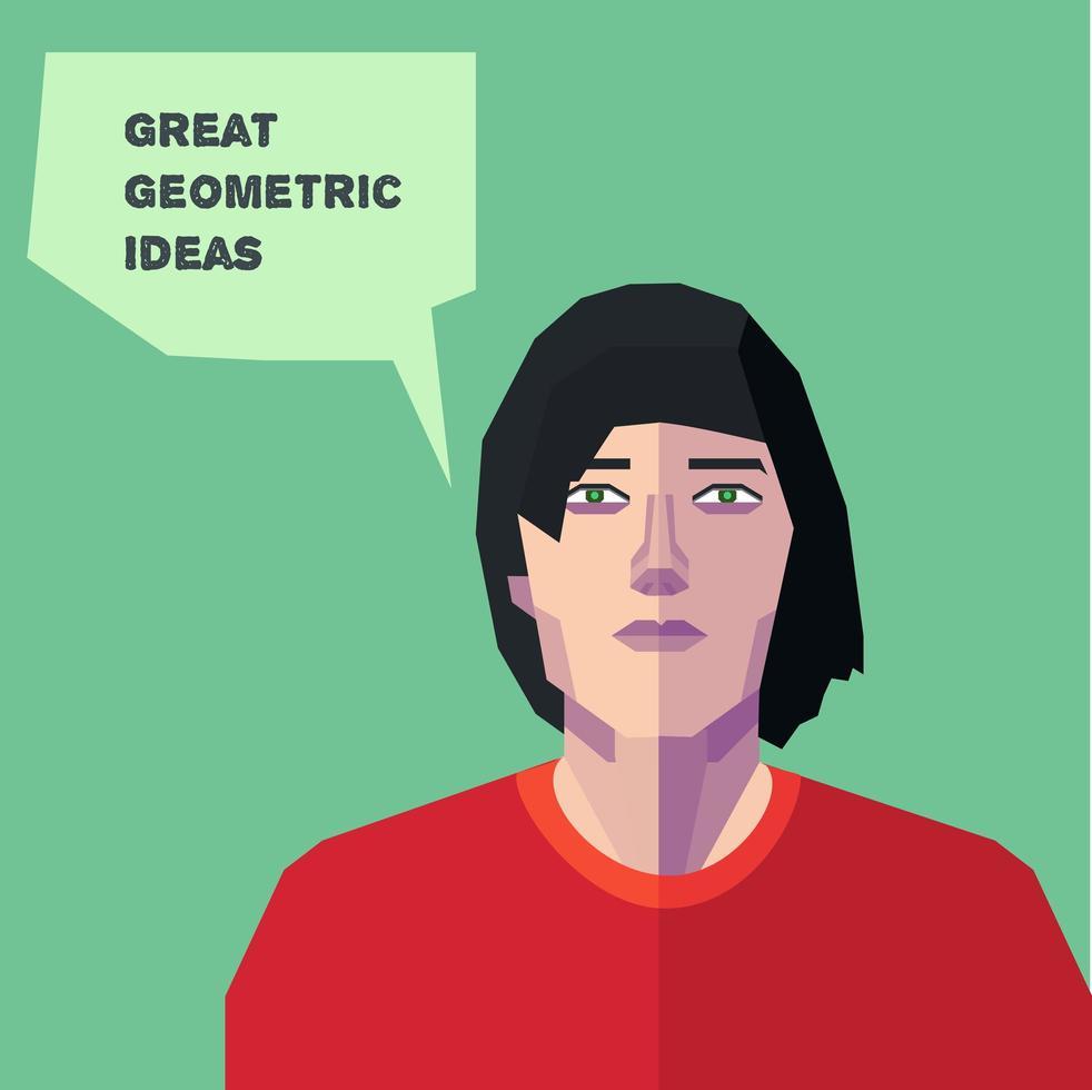 Vektor geometrischer Mann, denkende kreative Persönlichkeit