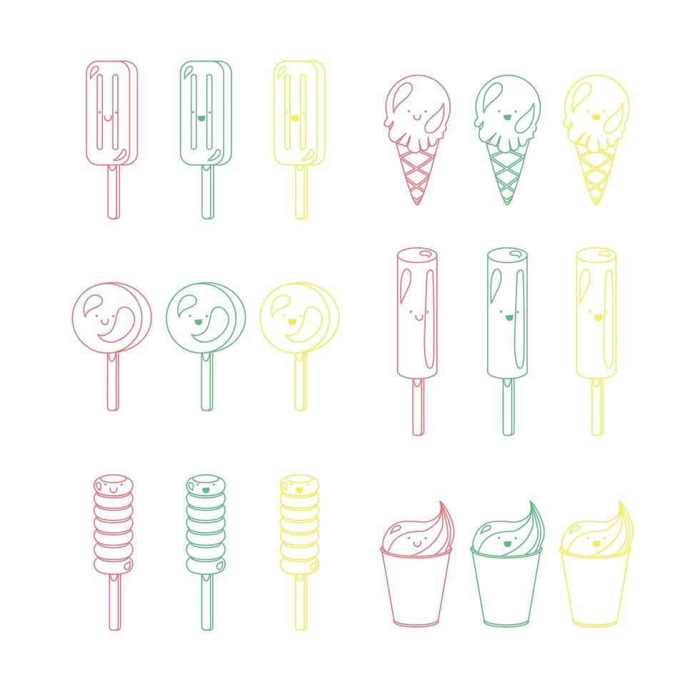 vektor uppsättning känslomässiga glassar