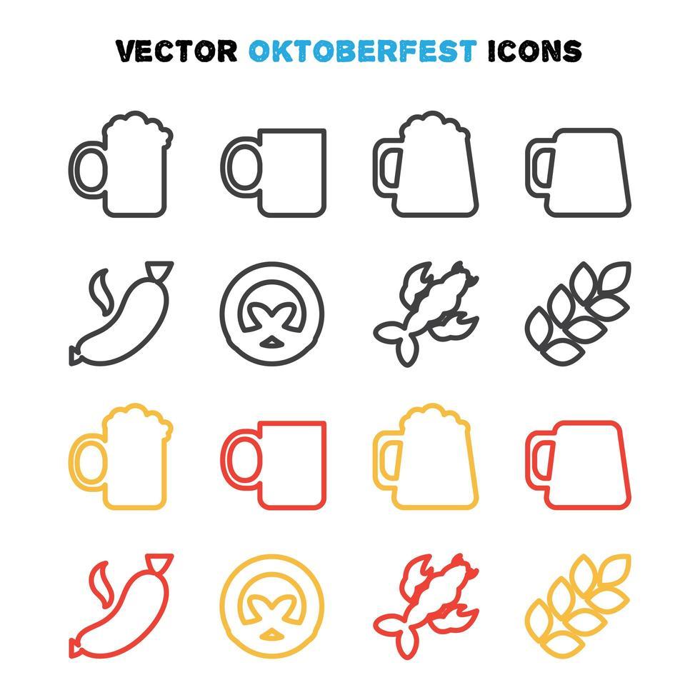 oktoberfest ikoner set vektor