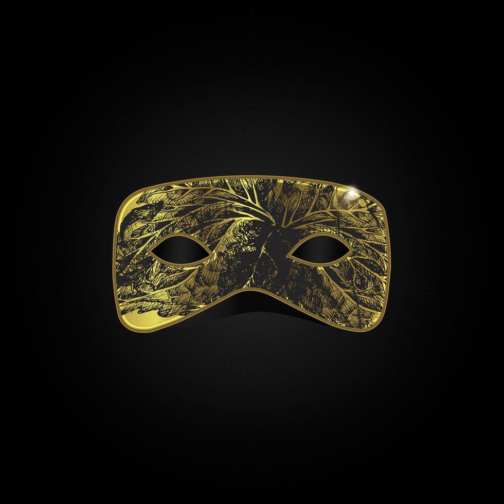vektor magisk guldmask med svart mönster