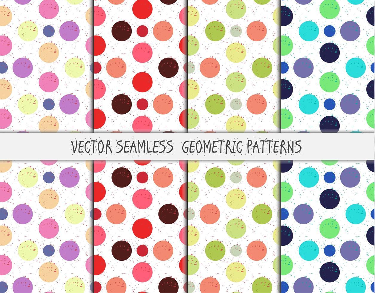 grunge färgglada geometriska sömlösa mönster set vektor