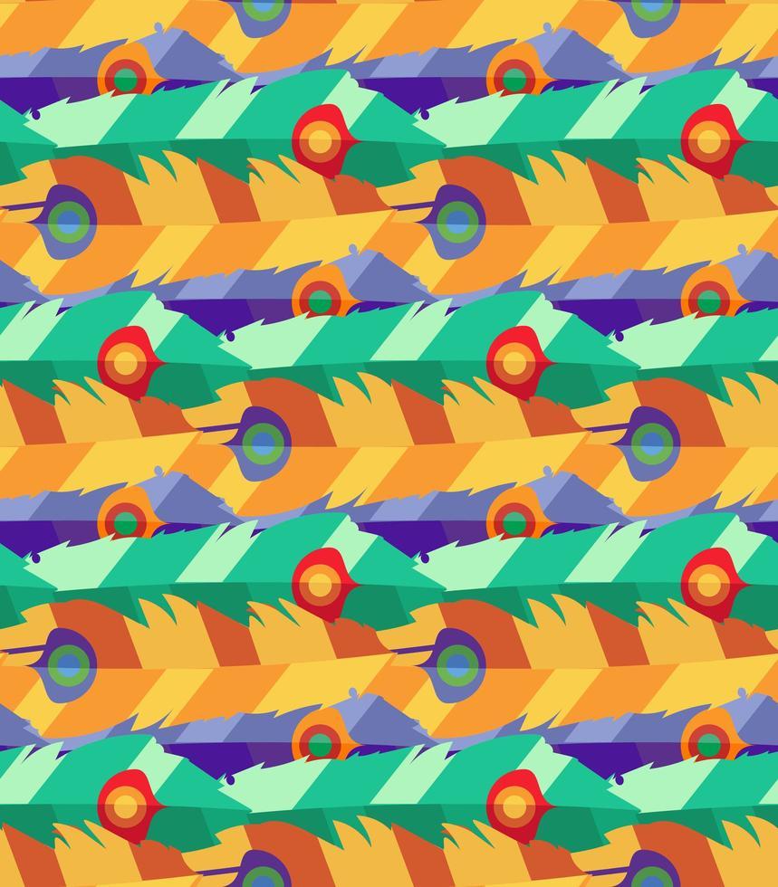 nahtloses Muster mit handgezeichneten flachen bunten Federn vektor
