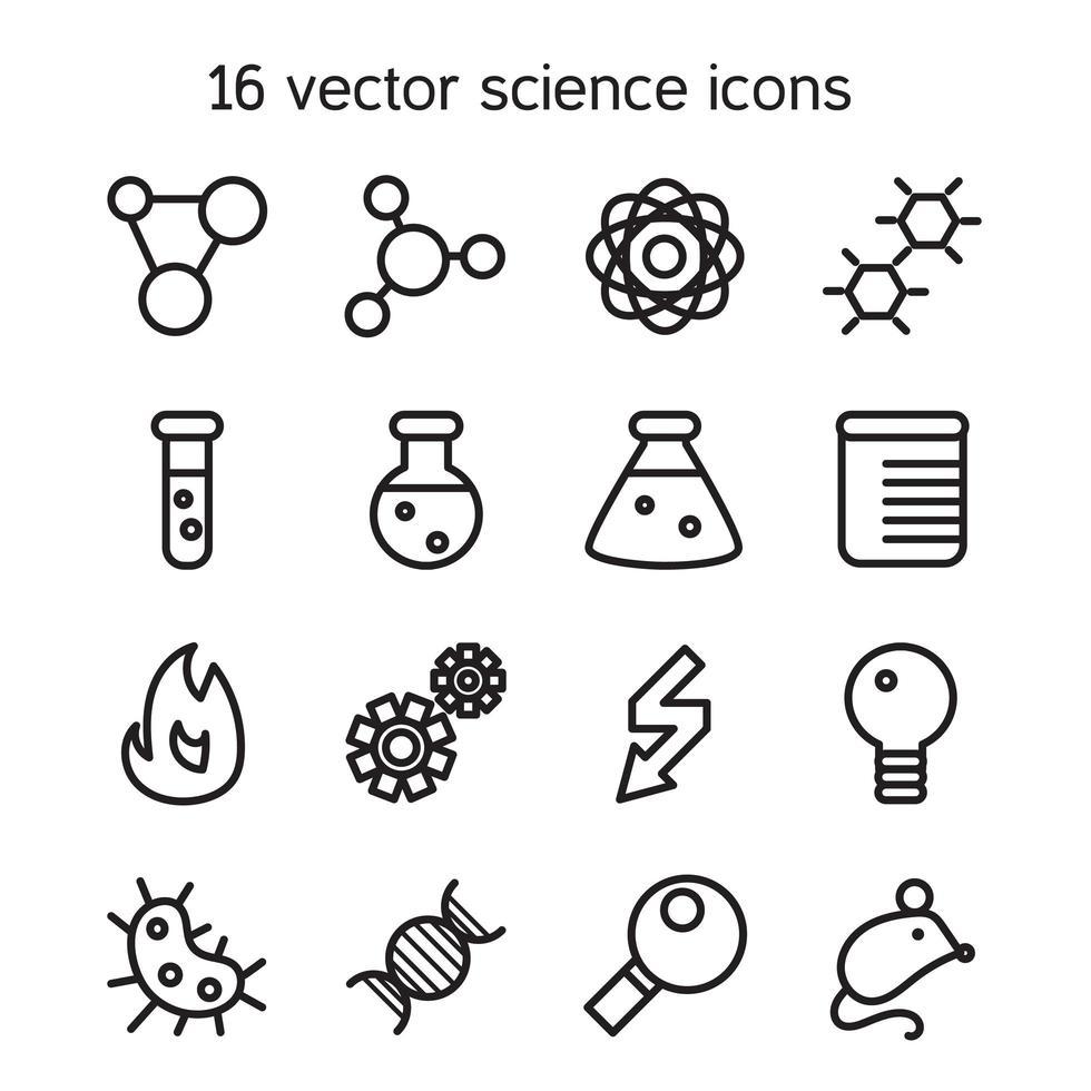 vetenskap uppsättning ikoner vektor
