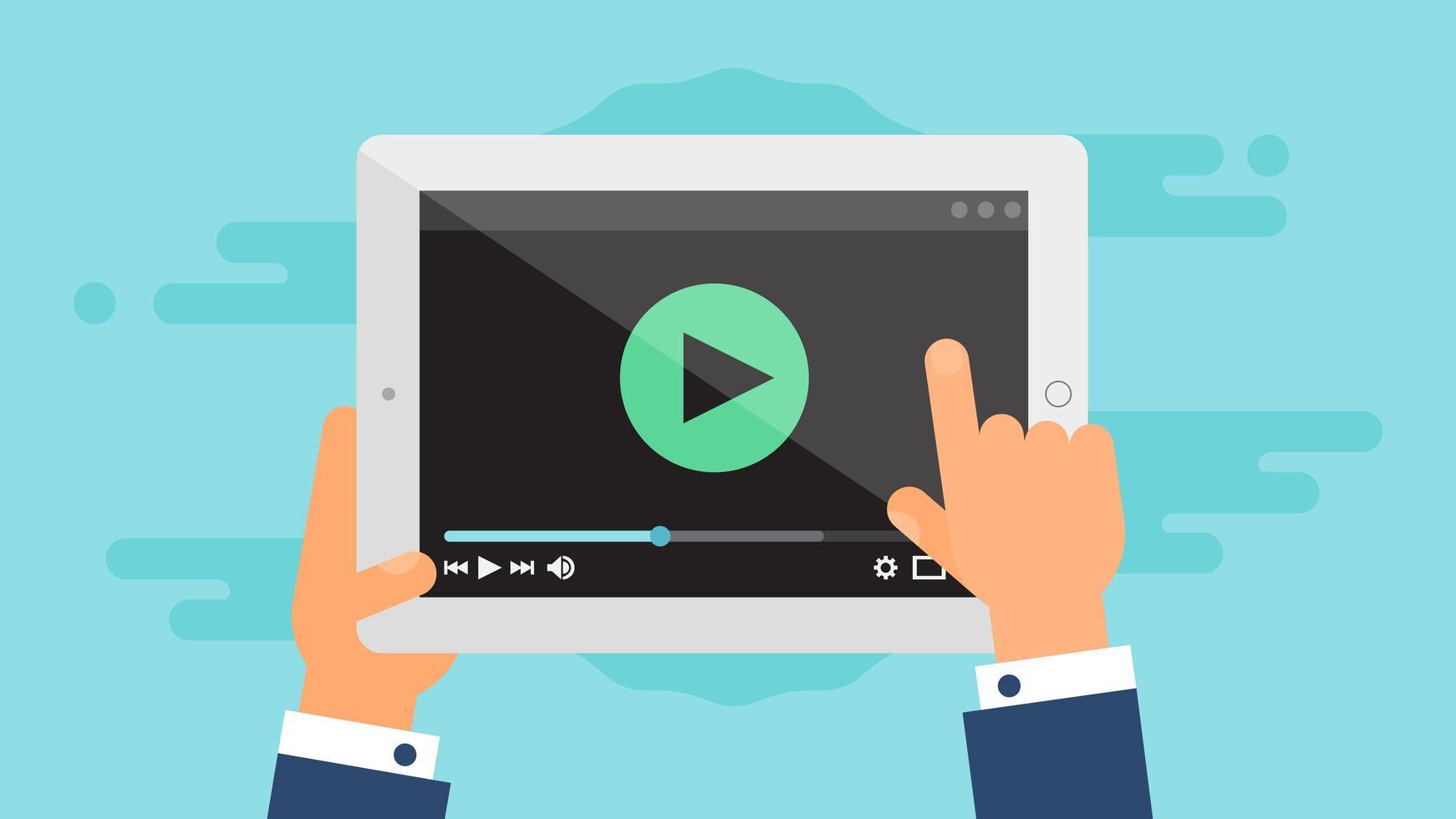 Webvorlage des Tablet-Videoformulars vektor