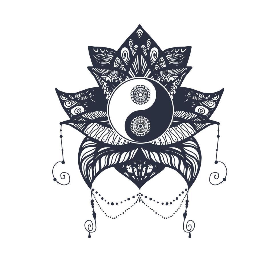 vintage yin och yang i lotus vektor
