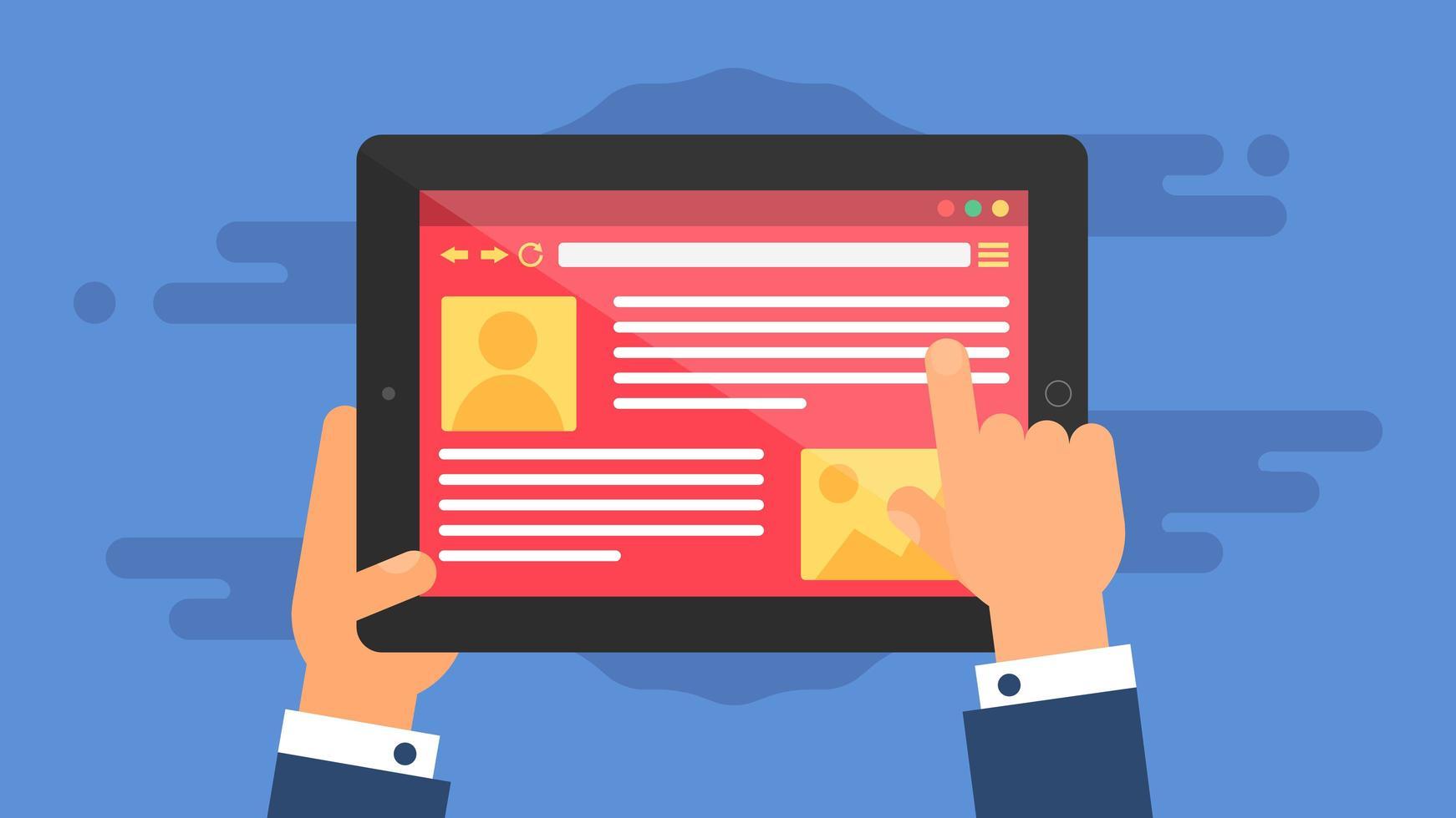 webbmall för surfplattans webbplats eller artikelformulär vektor