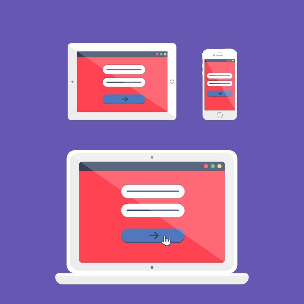 webbmall med anpassningsbart online-inloggningsformulär vektor