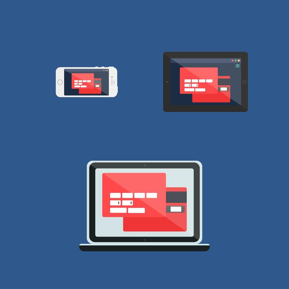 Webvorlage des adaptiven Online-Einkaufsformulars vektor