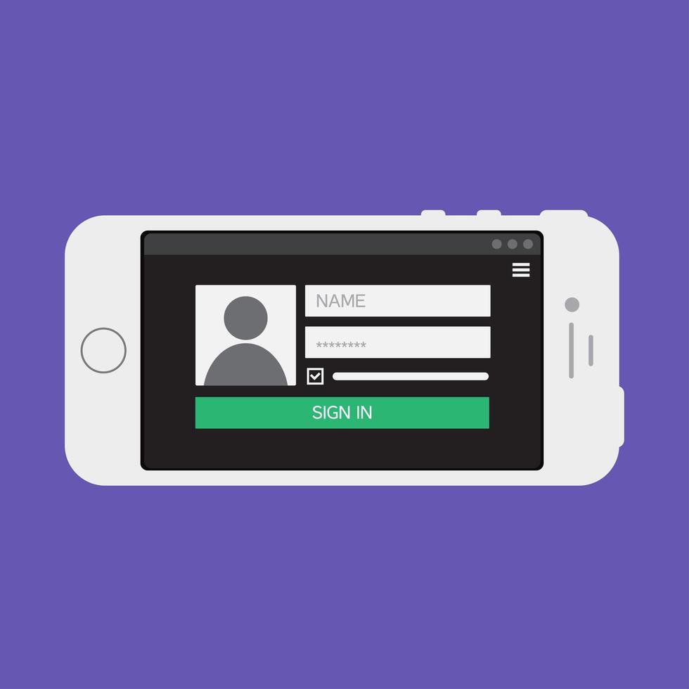 Webvorlage des Smartphone-Anmeldeformulars vektor