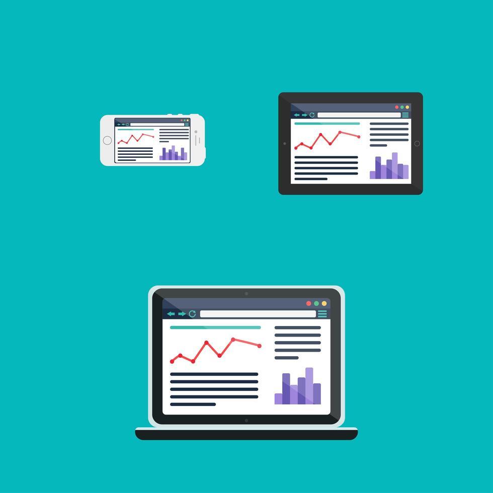 Webvorlage der adaptiven Website oder Artikelform vektor