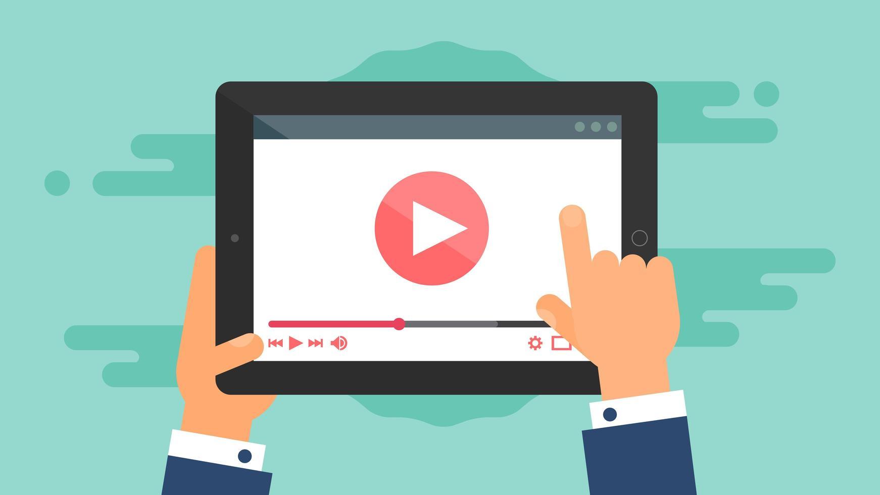 webbmall för tablettvideoformulär vektor