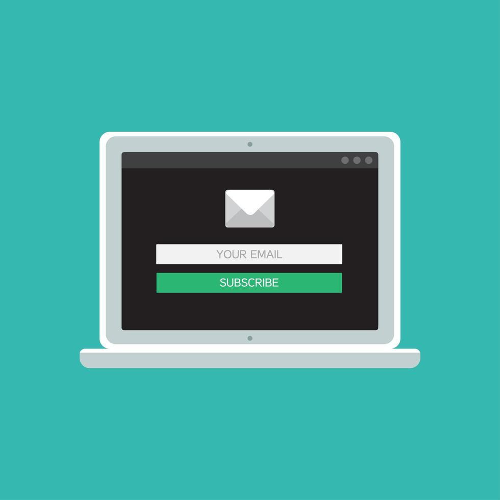 webbmall för datorns e-postformulär vektor