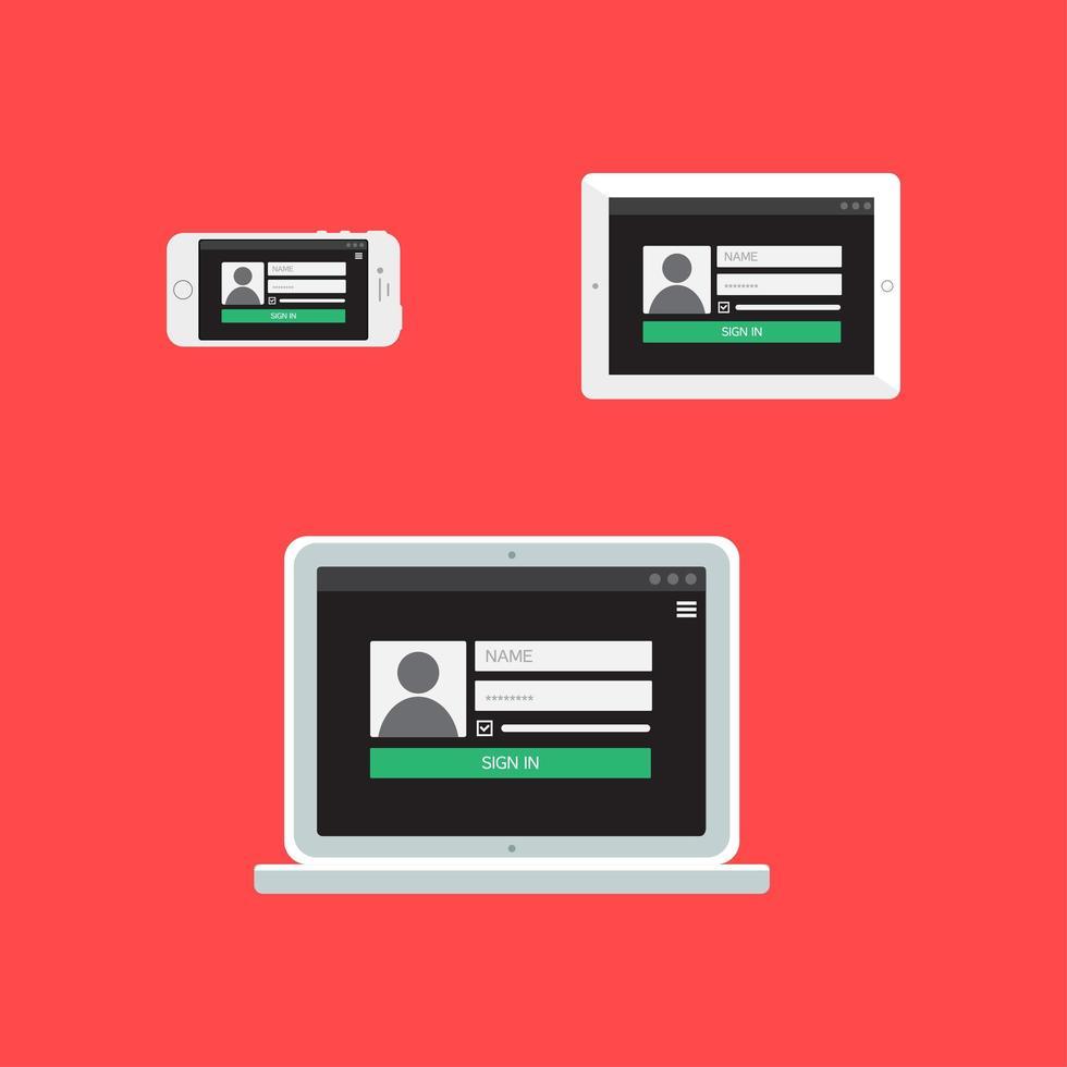 webbmall för adaptivt inloggningsformulär vektor