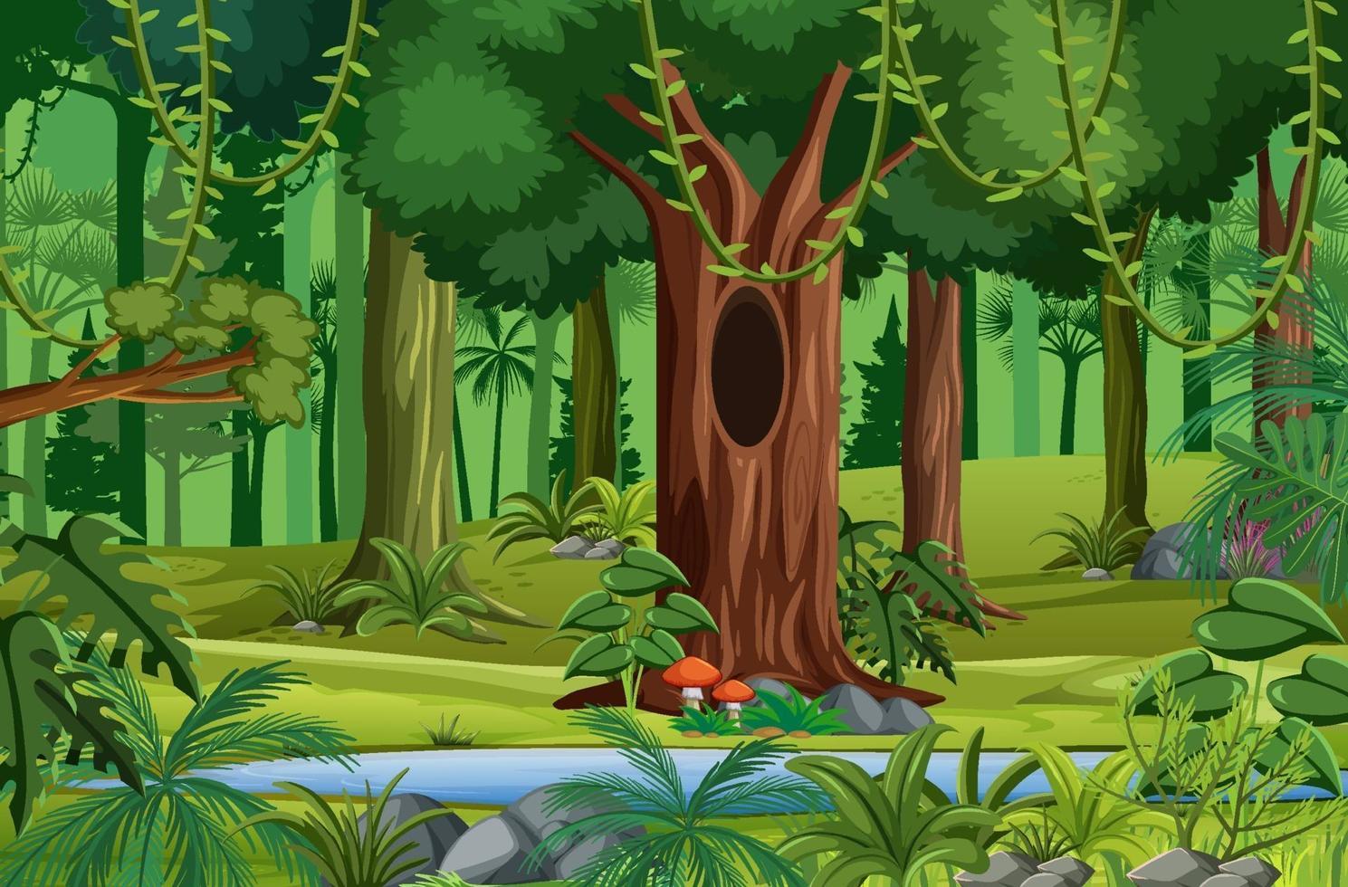 skogsscen med liana och många träd vektor