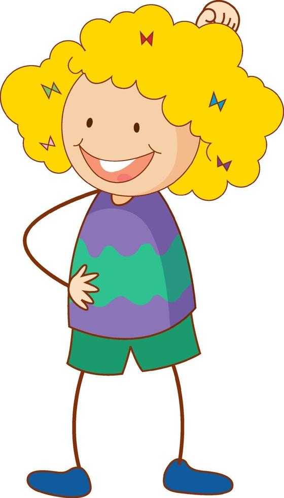 söt flicka seriefigur i handritad doodle stil isolerad vektor