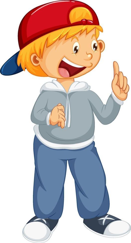 ein Junge, der Kappe in der stehenden Pose-Zeichentrickfigur isoliert trägt vektor