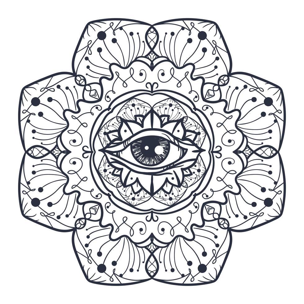 Alle sehen Auge im Mandala vektor