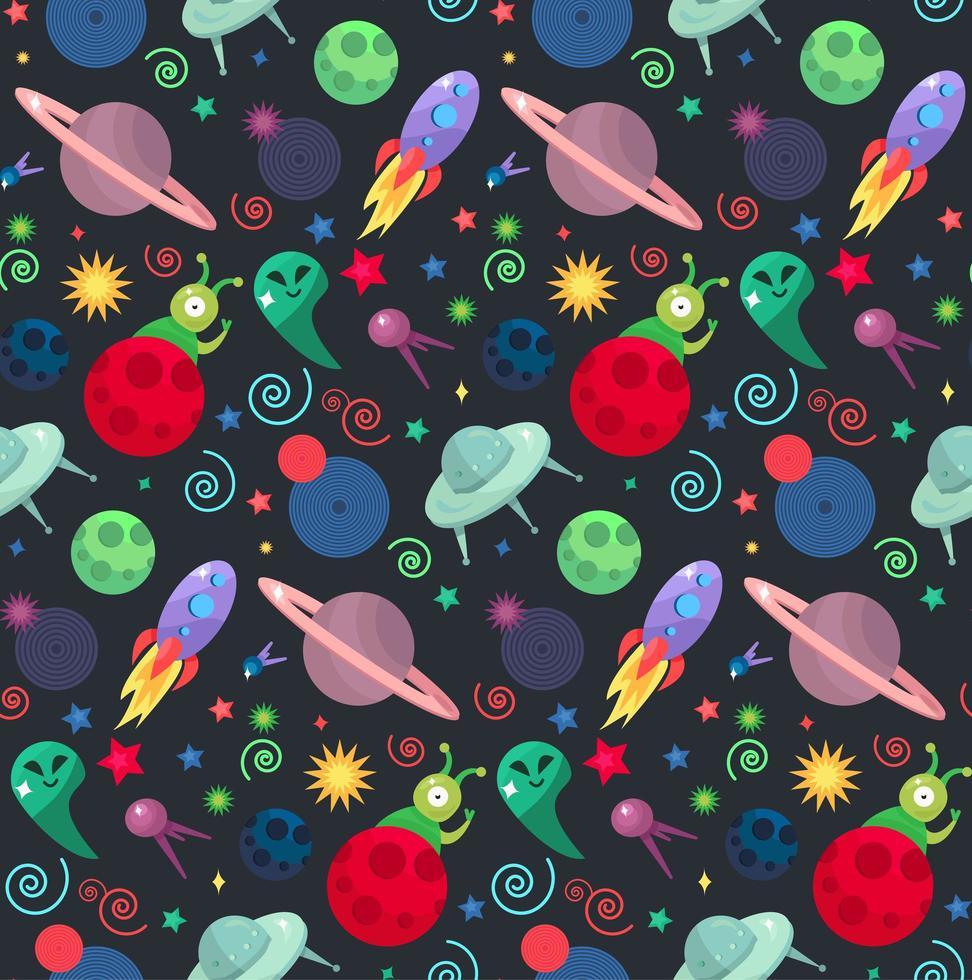 ufo kosmos mönster vektor