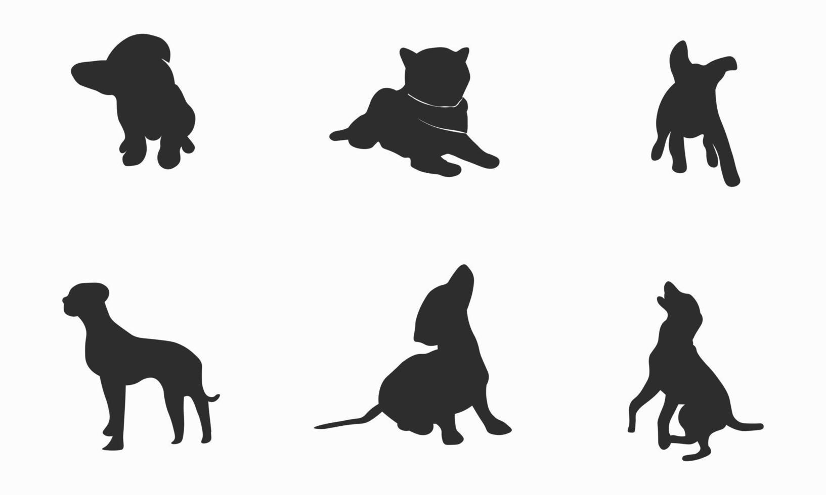 samling av hund silhuetter vektor