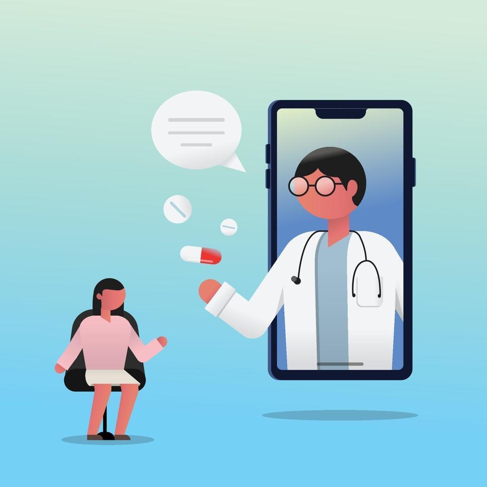 konsultation av kvinnlig patient med läkare via smartphone. vektor