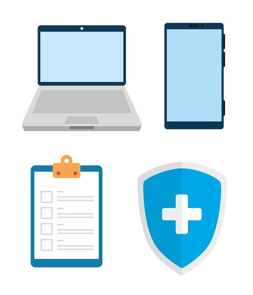 uppsättning av telemedicin teknik ikoner vektor