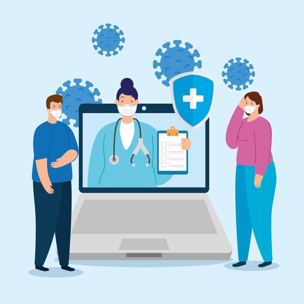 telemedicinsteknik med kvinnlig läkare i en bärbar dator med människor vektor