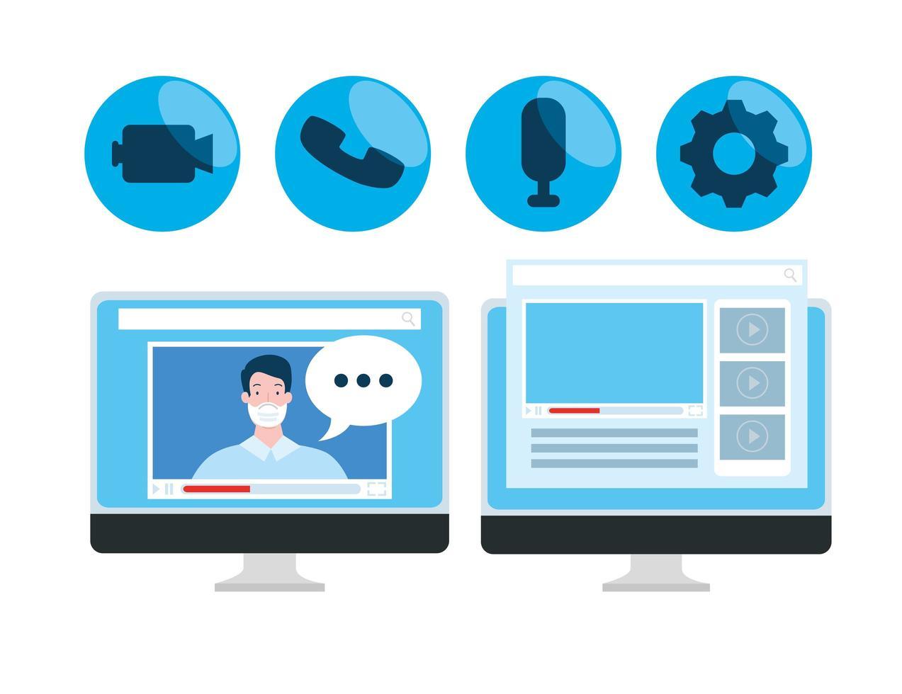 online-utbildningsteknik med datorer och ikoner vektor